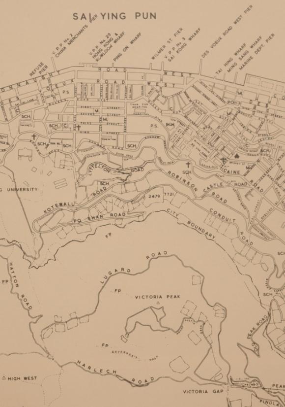 地政總署測繪處出版的《Mapping Hong Kong》,收錄了六十年代的中上環和半山地圖,盧吉道顯示在圖的較下方位置。(圖片來自《Mapping Hong Kong》)