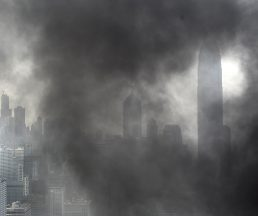 Smoke billows from apparent construction waste (unssen) at a construction site of the Convention Centre in Hong Kong on January 8, 2009. The fire was quickly instinguished and caused no victims.  AFP PHOTO/PHILIPPE LOPEZ / AFP PHOTO / PHILIPPE LOPEZ