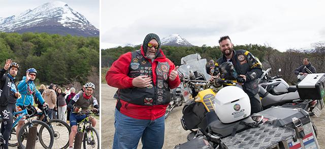 (左)國家公園內有不少人騎單車,作為 人生的一大旅程。 (右)來自巴西的Reinaldo(圖左),和朋 友一起由南美洲北邊一路騎電單車到最南 端,共用了十天時間。
