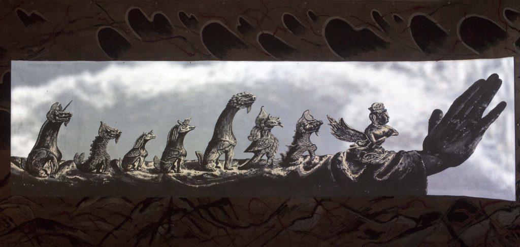 孫遜的作品《通向大地的又一道閃電》位於展覽的入口位置,以藝術家對遼寧故鄉的想像與回憶,開展了整個展覽對邊界、身份的討論。