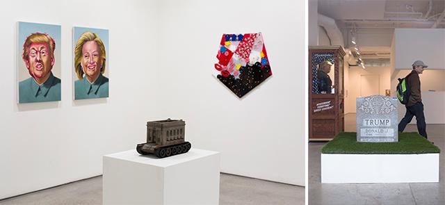 左:比起美術館,紐約的藝廊有更多展出政治作品的空間。 右:Brian Andrew Whiteley的作品《The Legacy StoneProject(The Donald Trump Tombstone