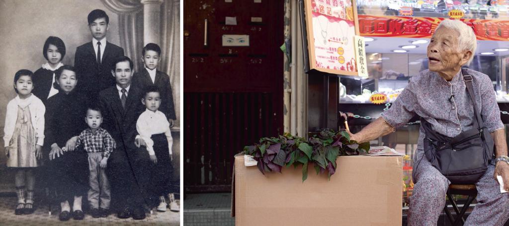 (左)高婆婆大半世紀前來港,一家團聚,與高伯合力供養六名子女。 (右)高婆婆堅持每月擺檔賣菜一、兩次,推銷自耕農作物。