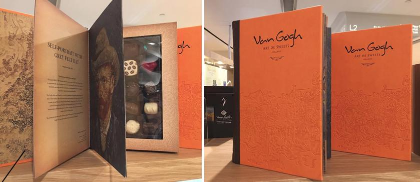 書形包裝盒不止是個存放的朱古力容器,更是一本「小冊子」,印有幾幅梵高的畫作和介紹,讓人一邊吃一邊認識這位留名千古的大藝術家。