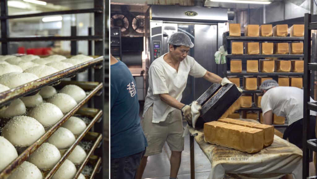 (左)除了方包,他們亦在日間生產長法包、小圓餐包、漢堡包和芝麻熱狗包等,晚上由車隊運送。 (右)工人事先在模具底部噴油,焗好的方包要立即倒出,外層香脆挺身。