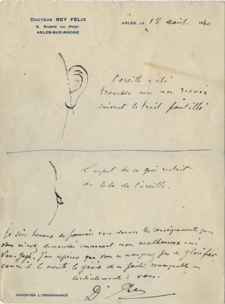 此圖為當年診治梵高的醫生Félix Rey的手繪診斷書,裡面記錄了梵高左耳的傷勢,指出他是把整隻耳朵給切走,而非只有傳言中的耳珠部分。(圖片來源:new.com.au)