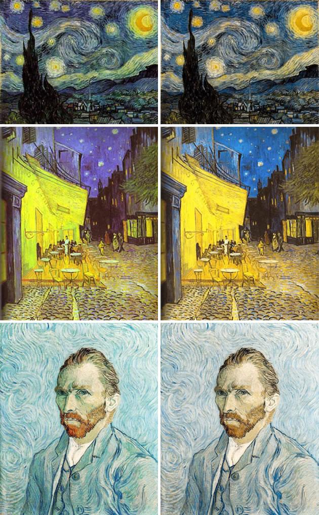日本色彩學家曾淺田一憲曾展開「色彩體驗實驗室」企劃,模擬梵高眼簾下的世界。你看出分別了嗎?