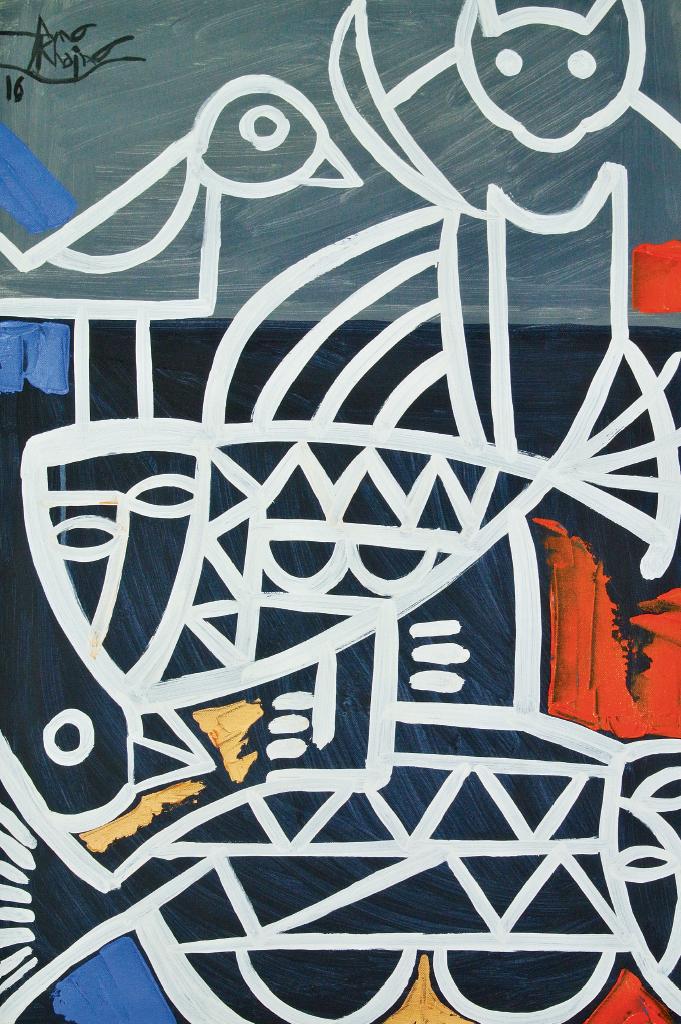 緬甸藝術家經常以緬甸傳統圖騰糅合當代畫風,圖為Aung Khaing的《Homage To Life》。