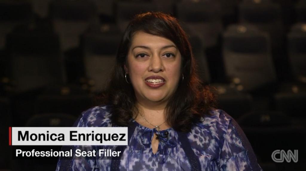 CNN曾訪問一位當了15年professional seat-fillers的Monica Enriques.