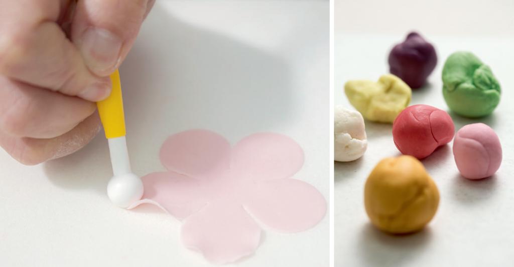 (左)每一塊花瓣都經過揉邊,好讓糖花形態更像真。(右)調糖麵以糖霜、粟膠、魚膠、食用樹膠,再加入蛋清做成,風乾後有點像瓷器,觸感脆硬卻比較易碎。