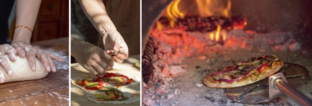 (左)Emma說「有人說世界上沒圓形的pizza」,隨意捏就好。 (中)他們做的是Neapolitan pizza,餅底只有0.1至0.2cm厚度,亦只能放三層餡料,不然就會烤不熟。 (右)薄餅起碼要用攝氏四百五十度才好吃,只消九十秒就烤成。