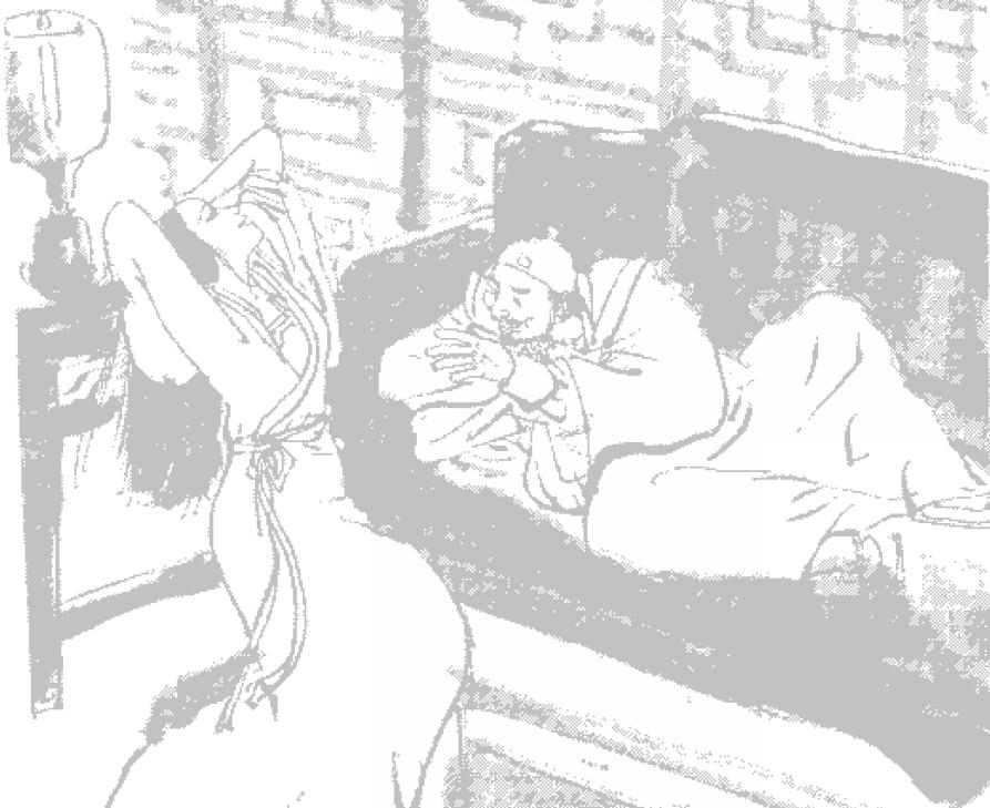 《天龍八部》第二十四回「燭畔鬢雲有舊盟」馬夫人頸中的扣子鬆開了,露出雪白的項頸和一條 紅緞子的抹胸邊緣,站起身來,慢慢打開了綁着頭髮的白頭繩,長髮直垂到腰間,柔絲如漆,嬌媚無限的膩聲道:「段郎,你來抱我!」