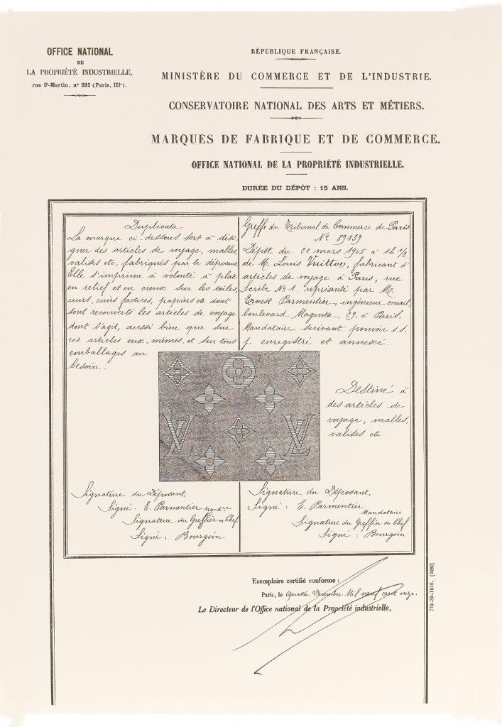 Louis Vuitton於1905年註冊了那最為人所知的Monogram,此為當年的商標註冊證明。