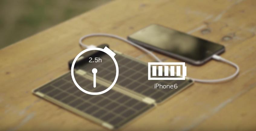 Solar Paper強調2.5小時就能為iPhone 6充滿電,既方便又快捷。
