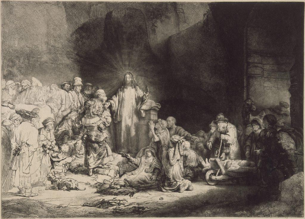 荷蘭畫家林布蘭的《耶穌行醫》,或稱《一百荷蘭盾版畫》。