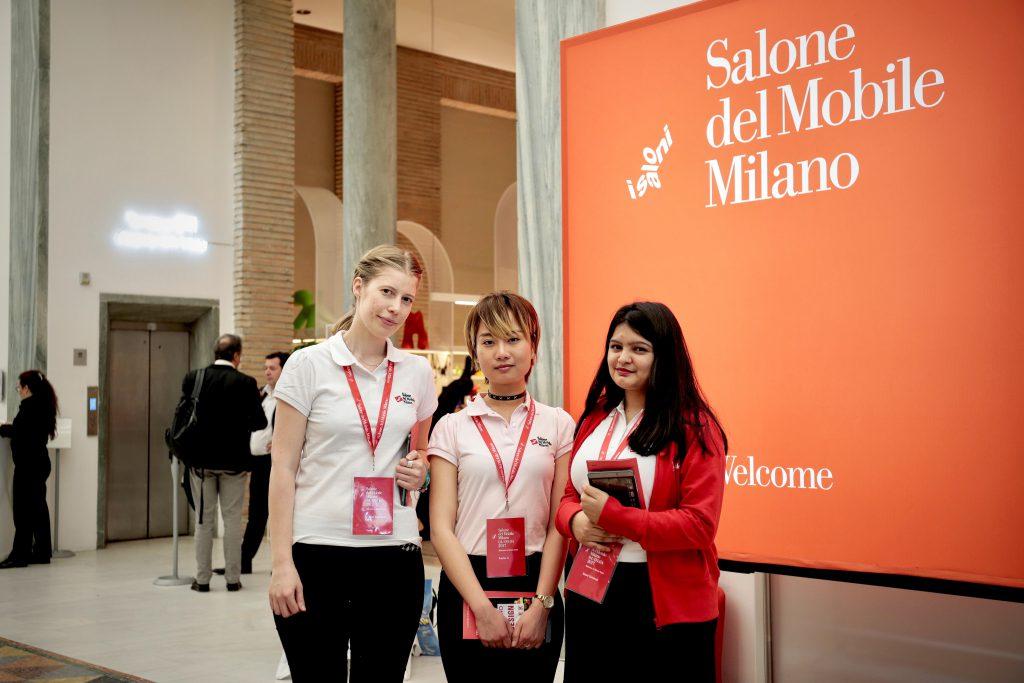 設計學生兼傢俬展宣傳大使,(左起)Amanda Stiernspetz Falth(23歲)、李曉慧(25歲)、Saloni Chhatwal(22歲)