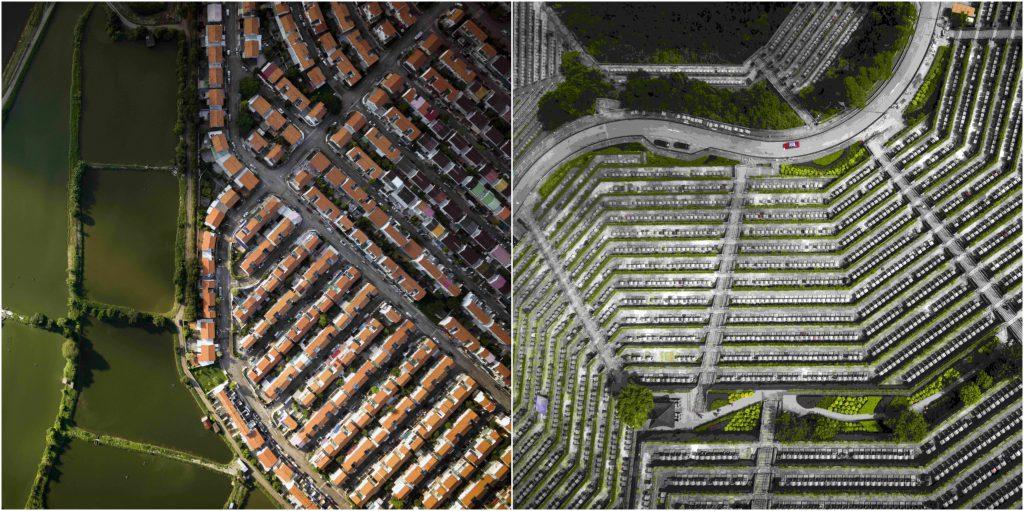 墳場規劃和大型屋苑的規劃相似,無論是陰宅或是陽宅,都以密密麻麻的方式排列。