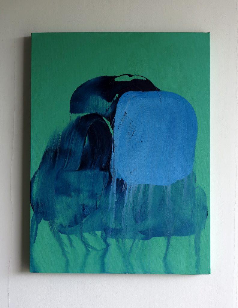 張奕滿《Things that remain unwritten#95》, 以多幅湛藍繪畫重現湄公河生態。