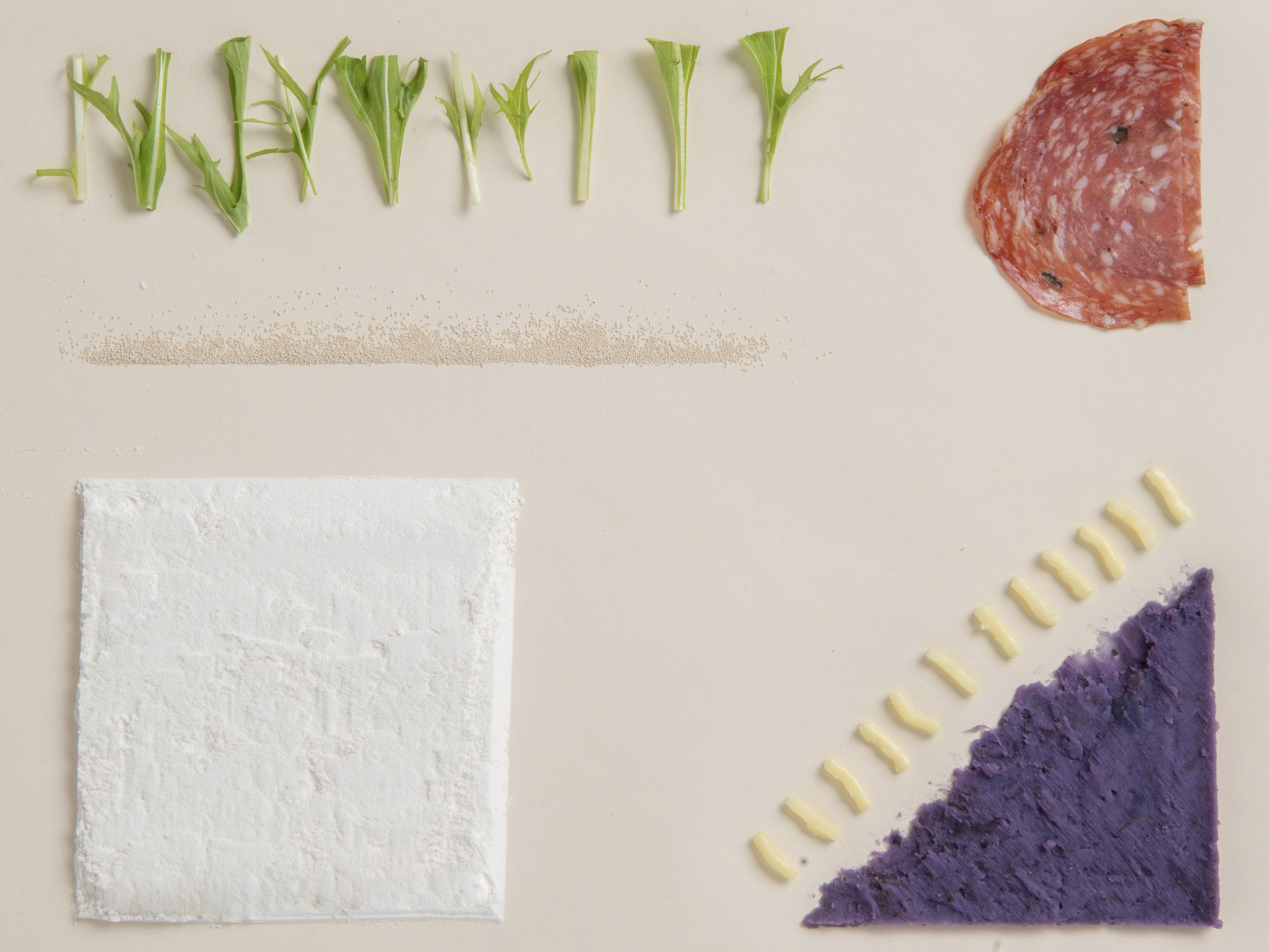 辣肉腸、紫薯、日本水菜和麵粉等材料結合,可以做出什麼?答案是結合意日風格的紫薯Pizza。