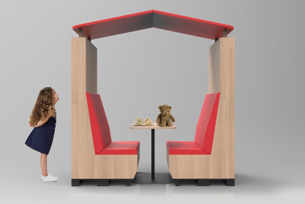 Learn Inn可拼合成圖書館個人閱讀空間或戶外休憩桌。