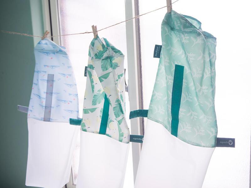 pockeat使用快乾物料,內袋可拉出來清洗,3小時便能完全乾透