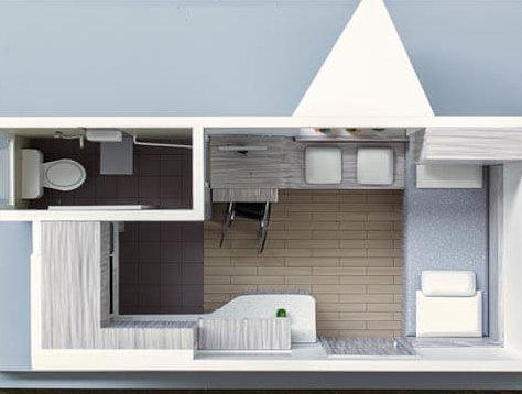 獨居長者家居傢俬採用流線型設計,桌子與長椅一體成型,減少隙縫,日後清理更容易,同時加闊廁所敞門,方便輪椅用家出入。