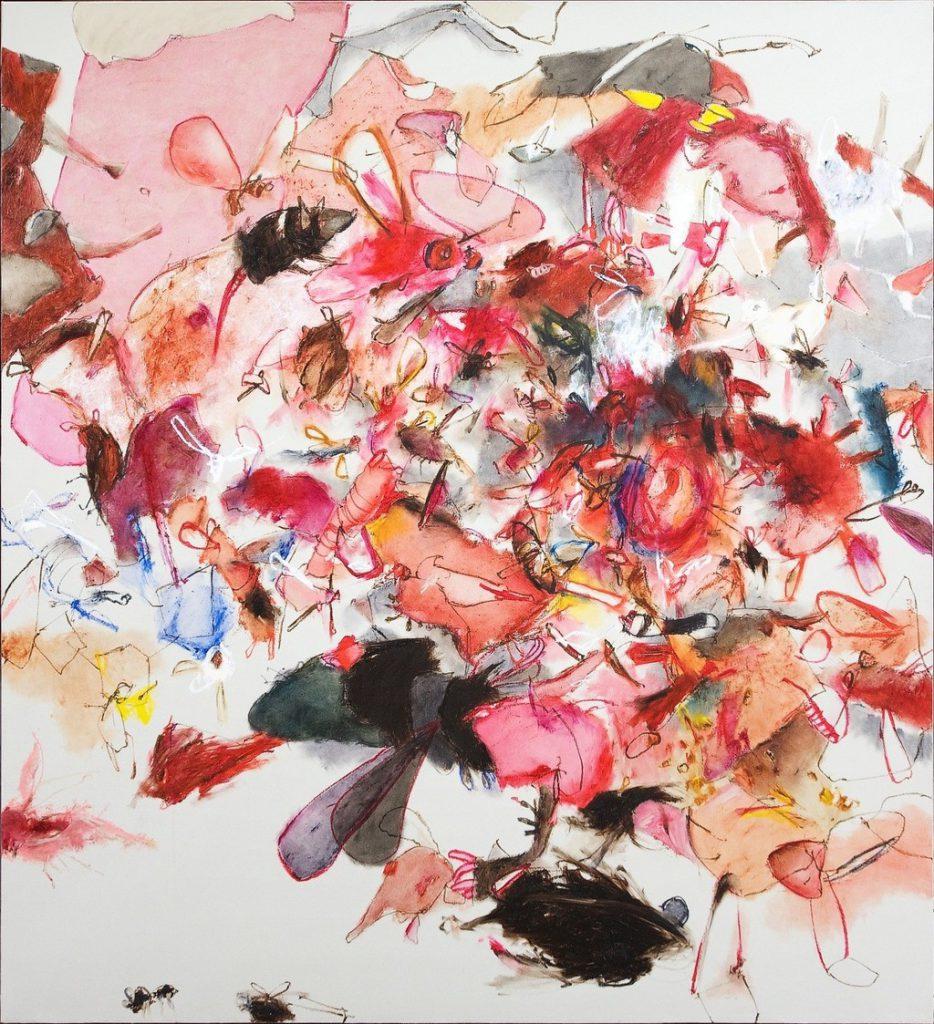 Christine Ay Tjoe與印尼藝術家如Entang Wiharso、Rudi Mantofani等同代,被稱為Post-Reformasi世代,此為Christine Ay Tjoe今年春拍創出高價的作品《Small Flies and Other Wings》
