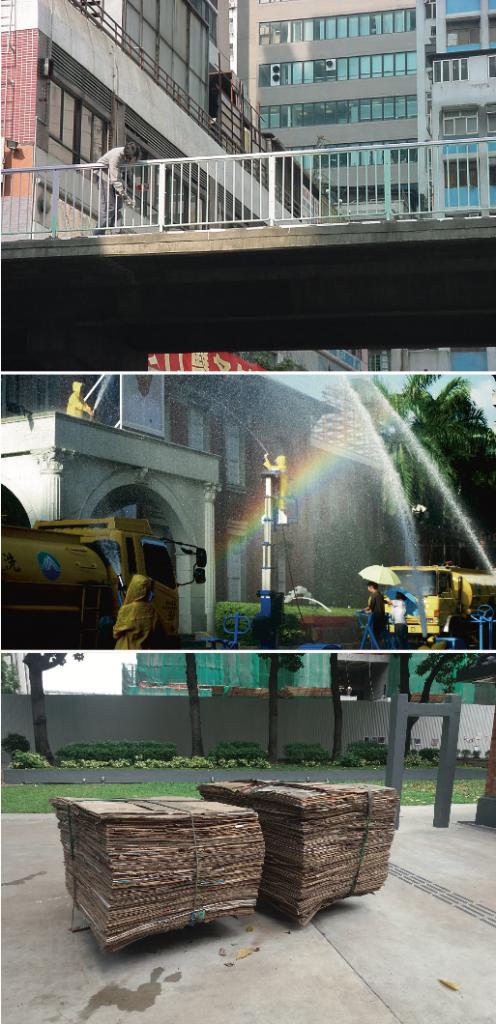 (上)水坑口的彩虹橋令程展 緯的創作日漸貼近人們的日常 (中)為作品《天氣報告:液化陽光》,他曾去信台北警局 借水炮車做作品,信中由下雨 的意象,連繫到港台抗爭與政 權暴力。 (下)作品《解款車》為收紙皮老人切割整齊的貨物,他曾 放到Art Basel展場上對藝術市場提出詰問。