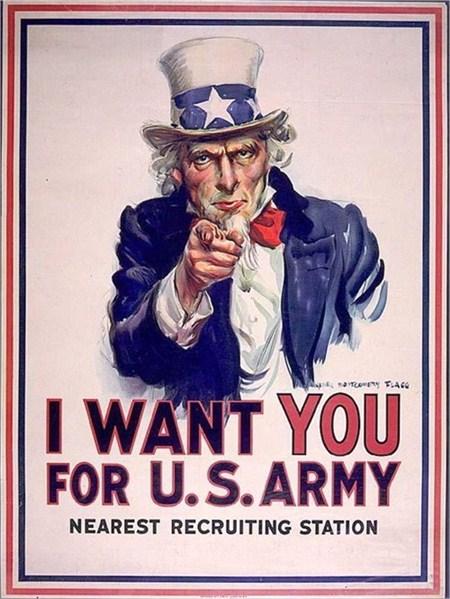 美國最具代表性可算是Uncle Sam這個虛構人物,不論海報和宣傳單都會有Uncle Sam的身影。美國人視Uncle Sam為可靠、刻苦、愛國的象徵。