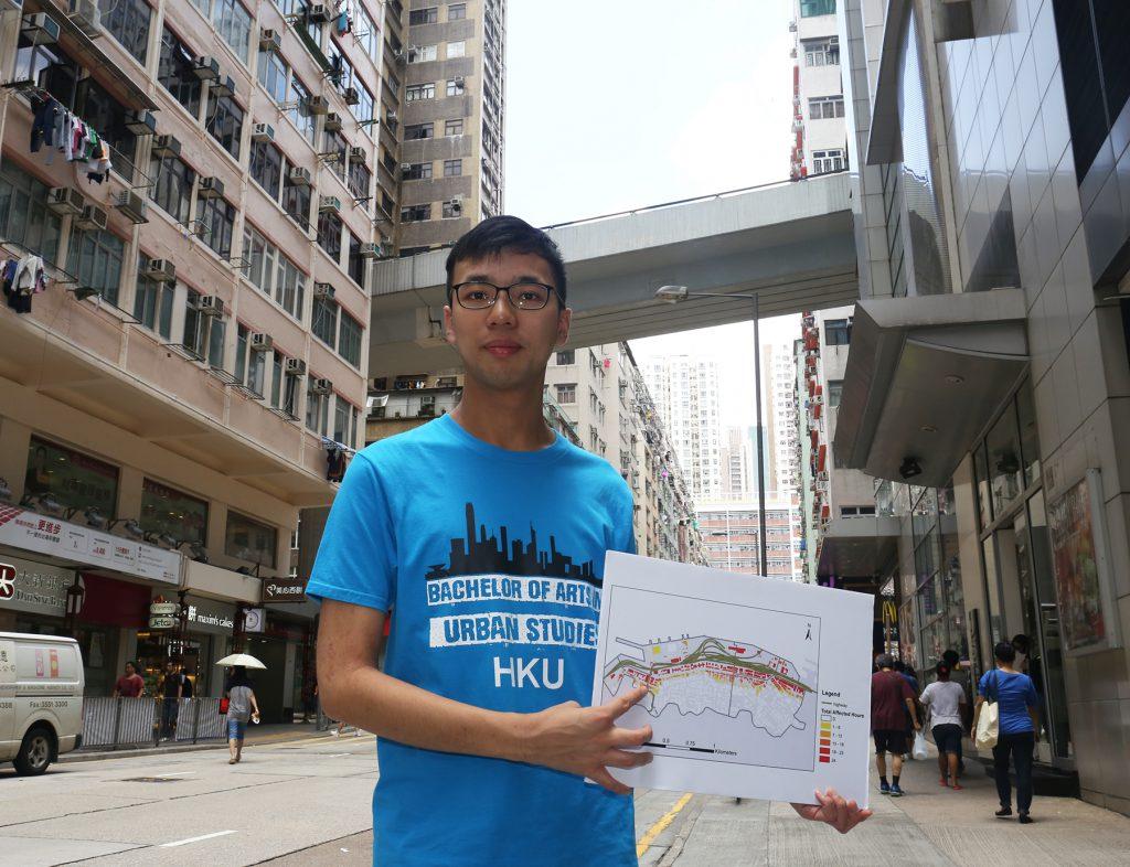香港大學城市研究生Kenneth研究了西區噪音問題,研究奪得地理信息系統業界(GIS)比賽香港冠軍。