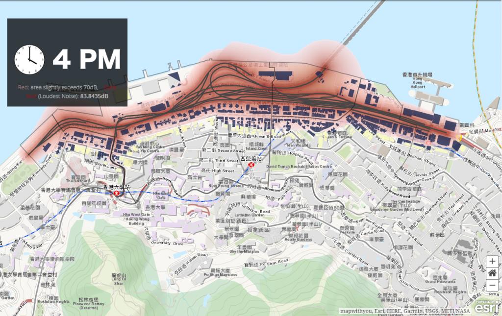 西營盤至石塘咀一帶超過六十棟樓宇噪音問題全日超標,直接影響居民健康。