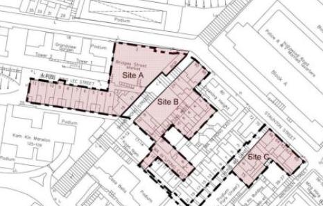 市建局建議重建的上環三個地盤。