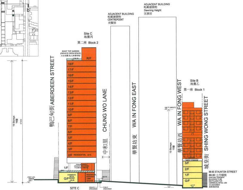 2013年市建局向城規會申請,在地盤B和C各興建一棟13層樓和19層樓高的商住物業,但仍保留地盤B的士丹頓街88-90號唐樓。