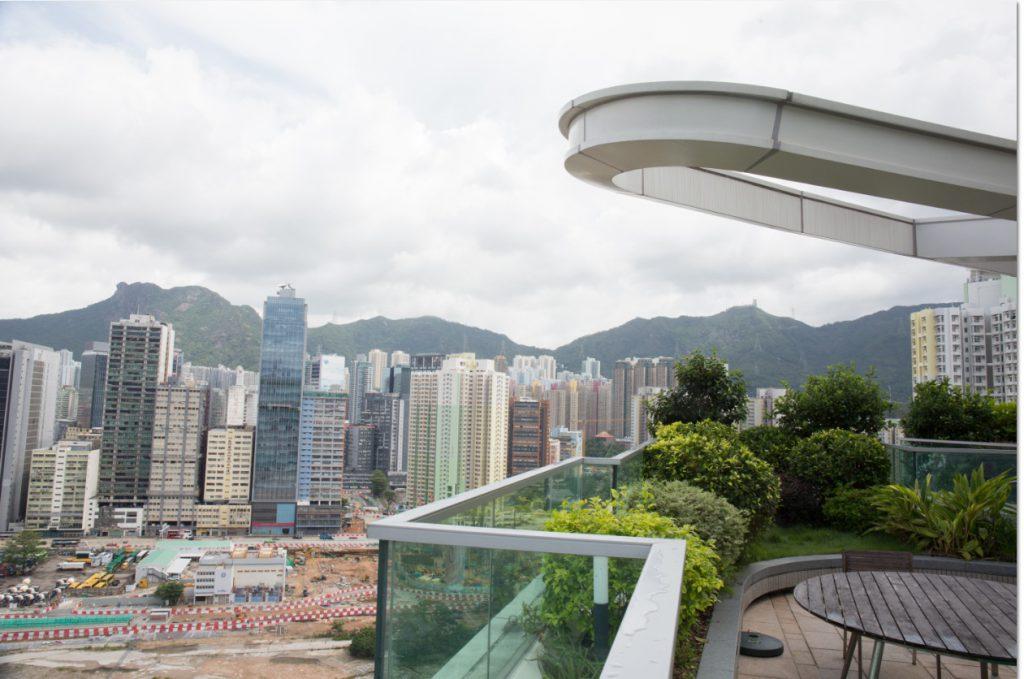 空中花園貫穿三座大樓天台,設有健身室、音樂室等設施,還可遠眺獅子山。