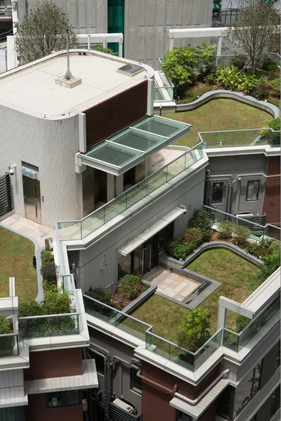 綠化天台和空中花園是本港綠色建築常見特色,圖為煥然壹居低座綠化天台,種有兩棵桂花樹,以香氣迎接住戶歸來。