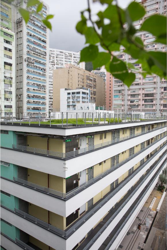 改造後變成一棟的公屋,添加了兩部電梯、全大廈採用LED燈等,預期進行綠化與節能設計後能節省約三成大廈電費。
