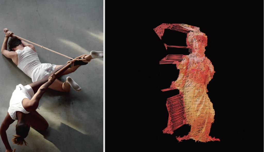 (左)Ngoc Nau錄像作品《她為慾望舞動》以來自北越太原市的女神宗教舞步儀式,帶來另一種女性文化形象的對照。 (右)Jes Fan,以barbell(槓鈴)質疑健美文化為身體帶來的扭曲定義。