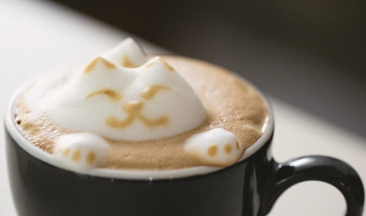 要用奶泡做出立體造型,底層layer首重幼 滑扣緊咖啡表層,原理猶如打地基。之後 面層重量一定要輕,所以奶泡質感與密度 會比較粗疏。