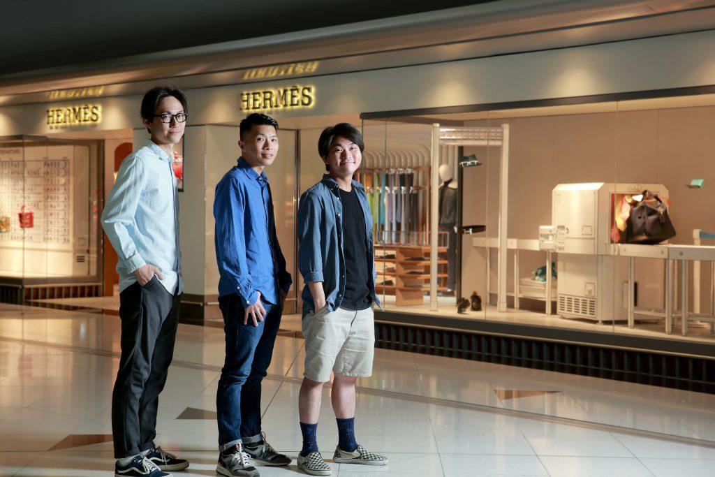 香港國際機場HERMÈS專門店的新櫥窗,由Brainrental Lab的(左起)Kevin、Roger和阿柱操刀設計。