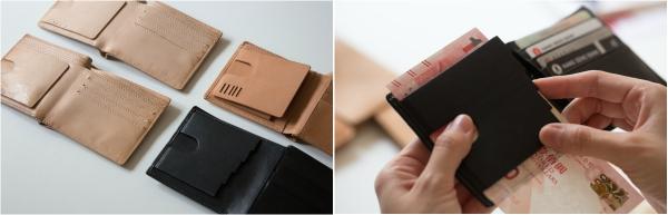 (左)四個不同版本的視障銀包,黑色的是最新作品。(右)改良後的視障銀包,採用樓梯式的設計,讓使用者靠觸覺分辨紙幣面額。