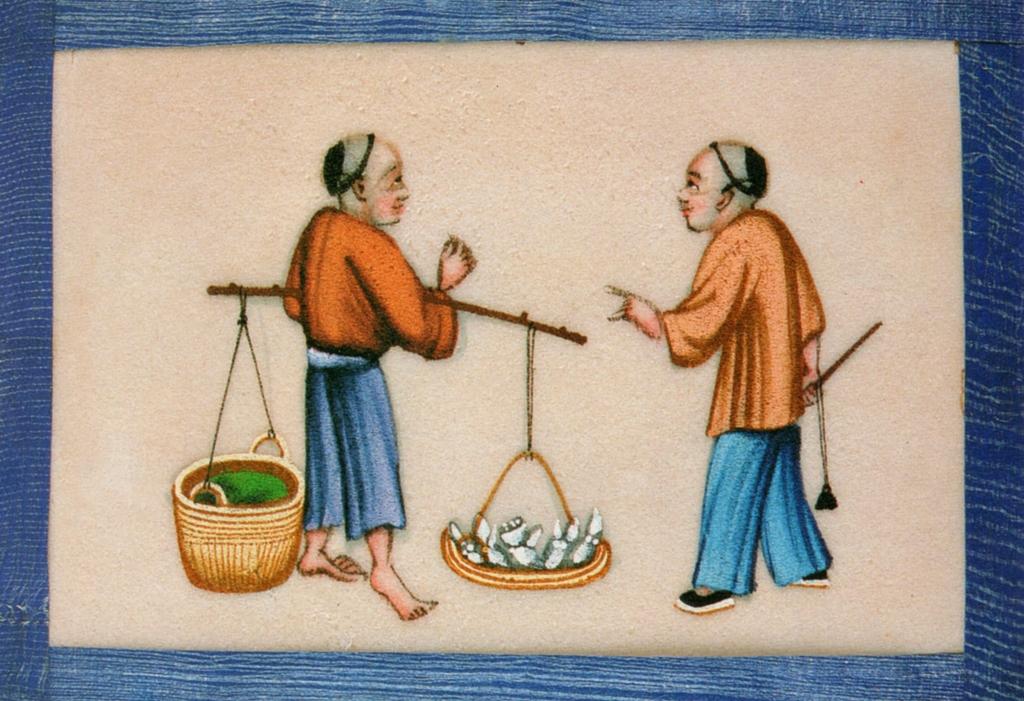 清代外銷通草畫《賣鮮藕》