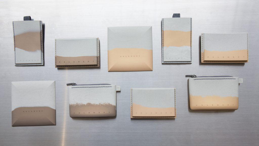 全手工製作的卡片套、零錢包等生活配件系列,每個都有不同的紋路和顏色。