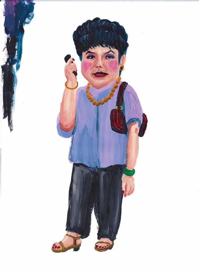 楊學德casual時的畫風生動趣怪,呈現人物的奇異一面。