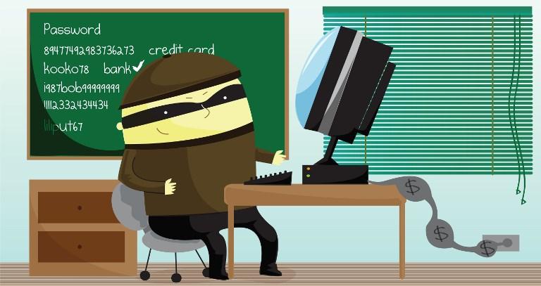 Illustration of computer hacker.