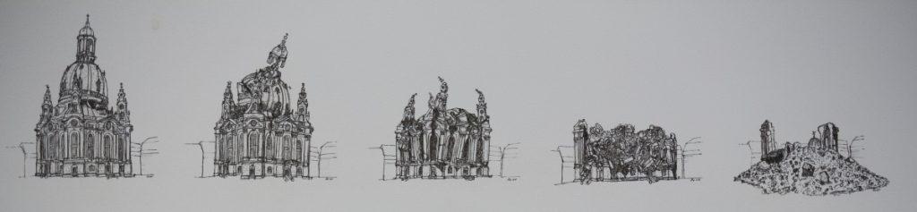 德雷斯頓聖母教堂在二戰末期遭到英美盟軍轟炸,此為教堂的展覽圖