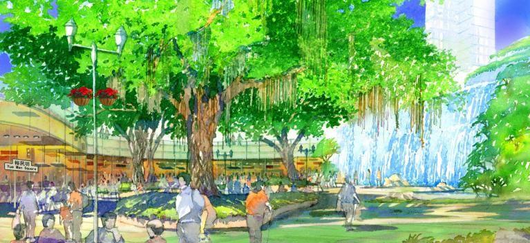 舊設計:原本裕民坊廣場保留三棵古樹,與瀑布相對而立。