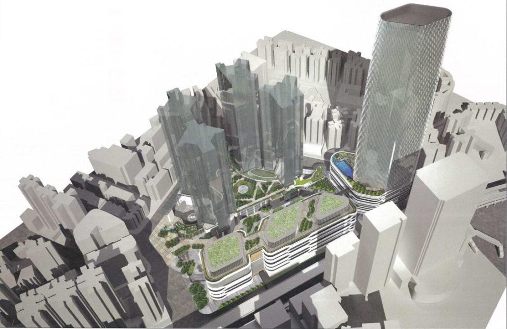 新設計:第四、五區商場外形改變,並改為獨立興建。