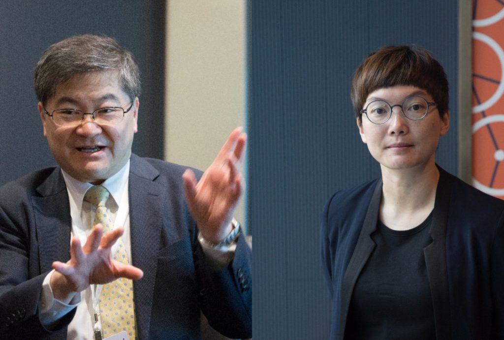 港大工程學院院長田之楠教授(左)和科學園技術主管(機械人技術)霍露明(右)