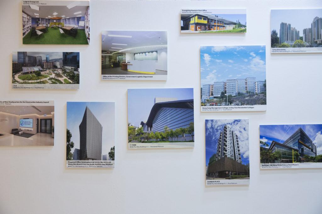 本地綠色建築數量在過去十年急速攀升,圖為綠色建築議會辦公室張貼的部分獲評級的環保樓宇。