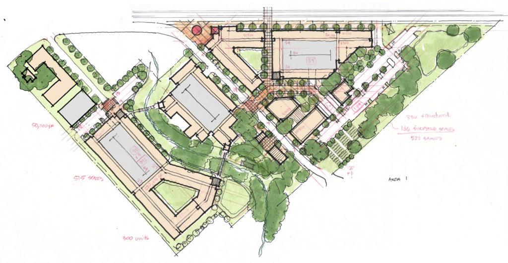 三角形地皮被綠化帶覆蓋,將會提供三百個價格相宜的住宅單位,冀利用社區關係改善居民健康。