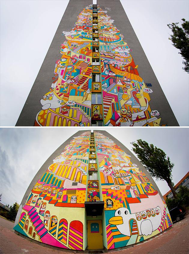 Messy Desk先起了草圖,之後再用投影機把草稿投射到建築物外牆上色,用了差不多一個月時間,童趣繽紛的「巴別塔」終於大功告成。